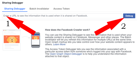 Example of Facebook sharing debugger page